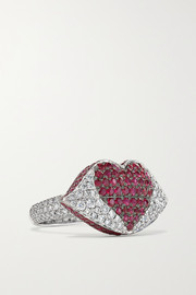 Kiss Me 18-karat white gold, diamond and ruby ring