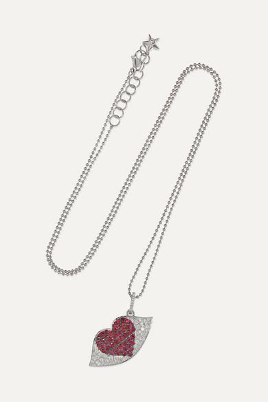 OFIRA Kiss Me 18-Karat White Gold, Diamond And Ruby Necklace