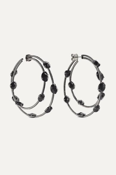 OFIRA 18-Karat Blackened White Gold, Spinel And Diamond Hoop Earrings