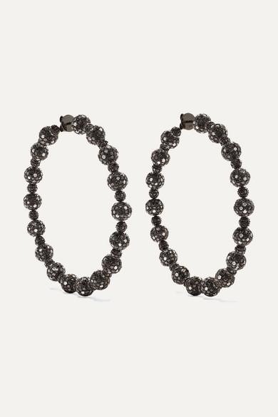 OFIRA 18-Karat Blackened White Gold Diamond Hoop Earrings