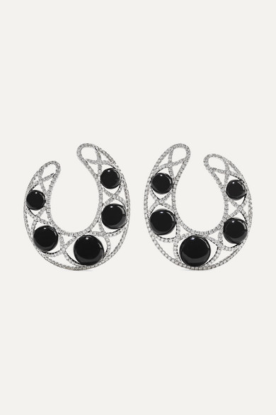 OFIRA 18-Karat White Gold, Diamond And Agate Hoop Earrings
