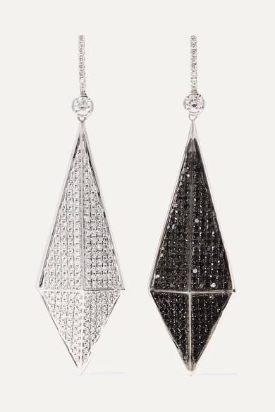 OFIRA Pyramid Reversible 18-Karat Blackened White Gold Diamond Earrings