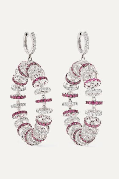 OFIRA 18-Karat White Gold, Ruby And Diamond Earrings