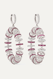 18-karat white gold, ruby and diamond earrings