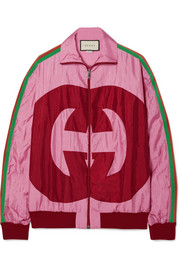 Gucci Grosgrain-trimmed printed shell track jacket