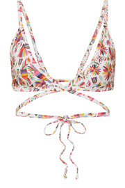 VerdeLimón Merida printed triangle bikini top