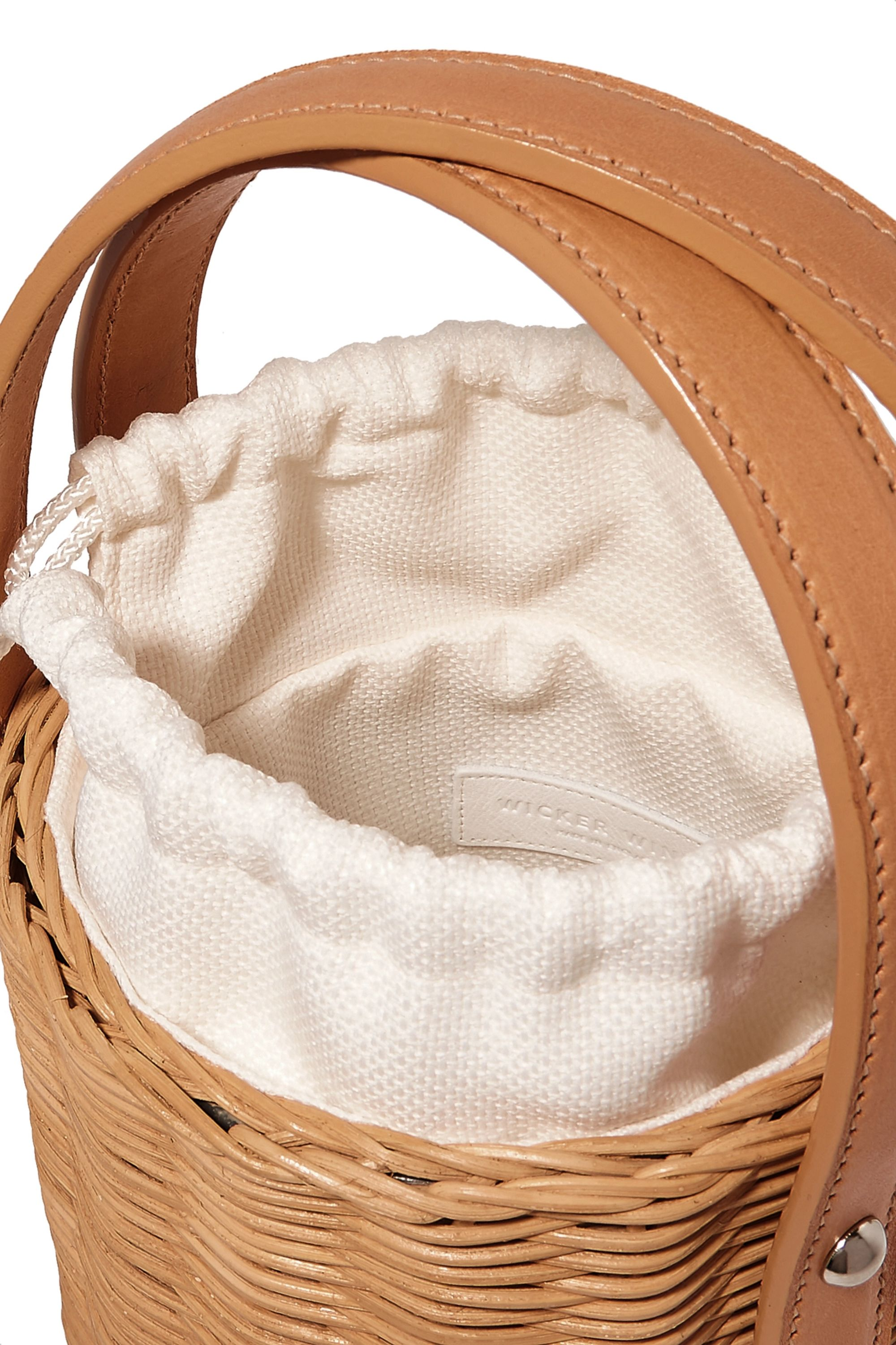 Wicker Wings Quan rattan and leather bucket bag
