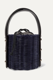Quan rattan and leather bucket bag