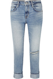 Current/Elliott The Fling distressed low-rise slim-leg jeans