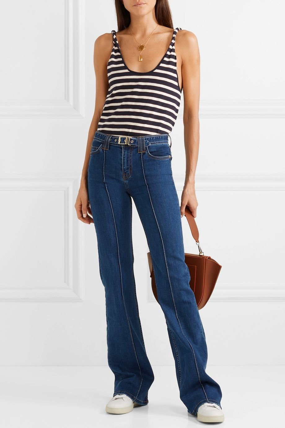 Current/Elliott The Admirer belted high-rise flared jeans