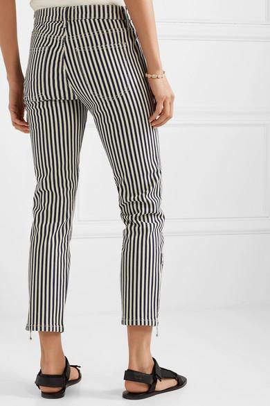 Current Elliott Jeans The Cropped Lexton striped high-rise slim-leg jeans