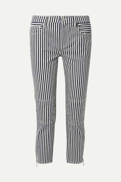 Current Elliott Cropped jeans The Cropped Lexton striped high-rise slim-leg jeans