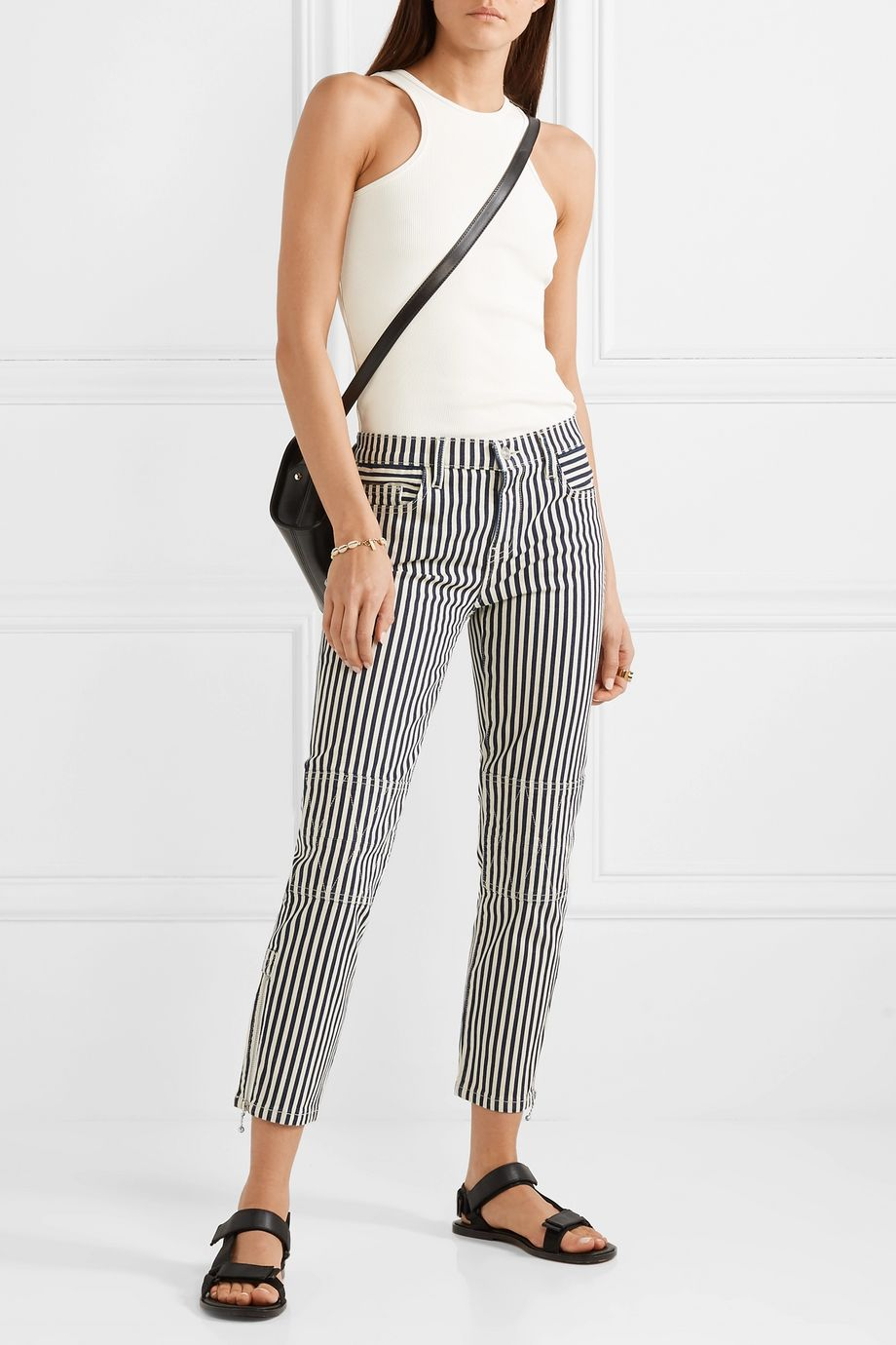 Current/Elliott The Cropped Lexton striped high-rise slim-leg jeans