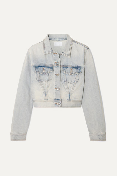 Current/Elliott The Micro Corset Trucker cropped denim jacket