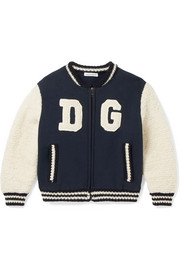 Ages 2 - 6 appliquéd cotton-blend jersey and wool-blend terry bomber jacket
