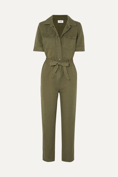 Frame Suits Belted cotton and linen-blend jumpsuit