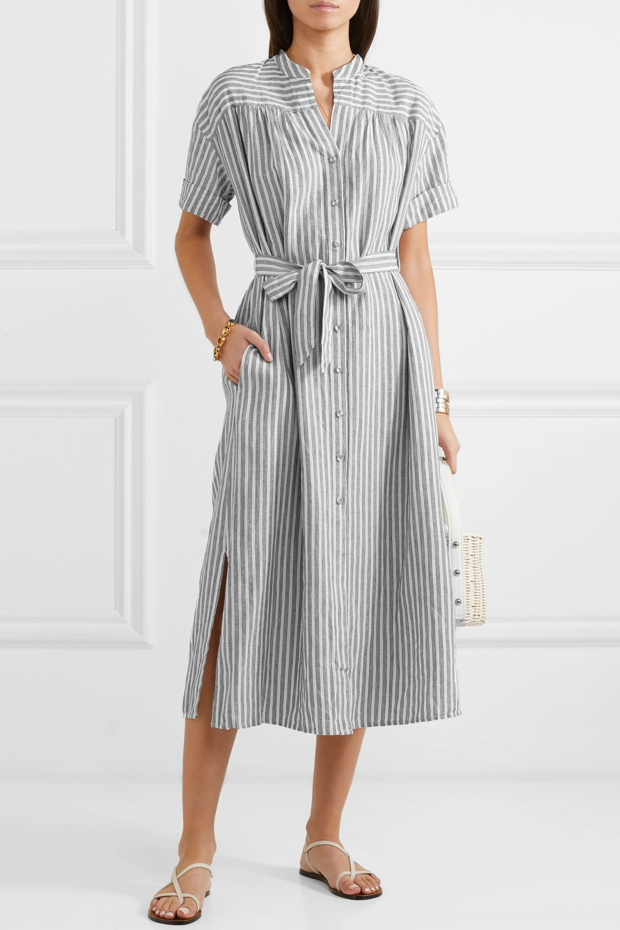 FRAME Belted striped linen and cotton-blend dress