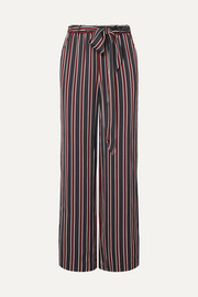 Easy striped charmeuse wide-leg pants