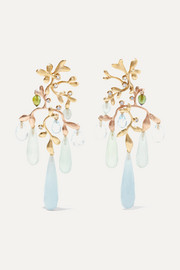 Gipsy 18-karat yellow and rose gold multi-stone earrings