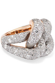 Tango 18-karat rose gold and rhodium-plated silver diamond ring