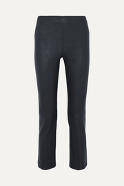 Floridia cropped leather slim-leg pants