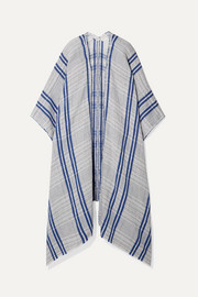 Checked linen and cotton-blend wrap