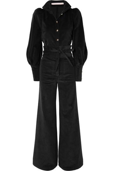 ANNA MASON Jane Belted Cotton-Corduroy Jumpsuit in Black