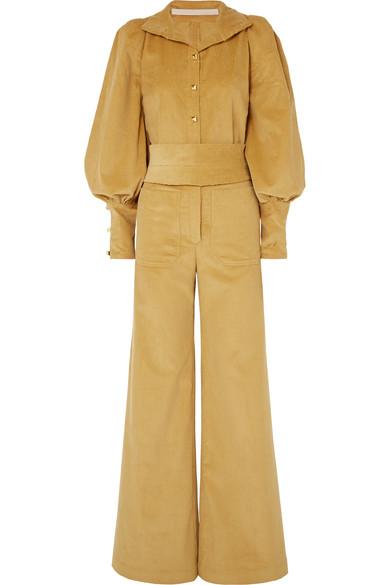 ANNA MASON Jane Belted Cotton-Corduroy Jumpsuit in Mustard