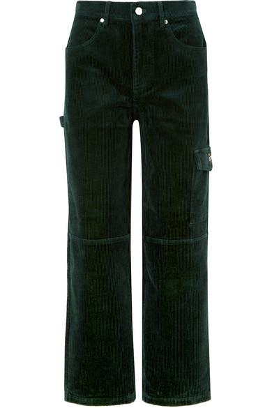 KITH Rya Cotton-Corduroy Boyfriend Pants in Forest Green