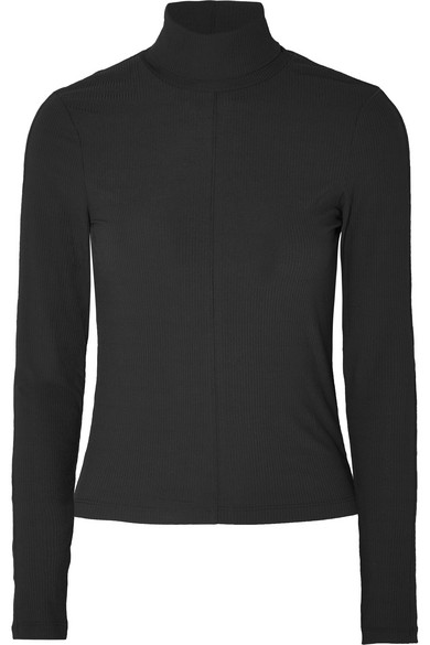 KITH Brynn Ribbed Stretch-Jersey Turtleneck Top in Black