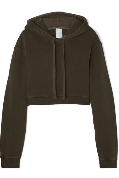 KITH Alexa Cropped Cotton-Jersey Hoodie in Army Green