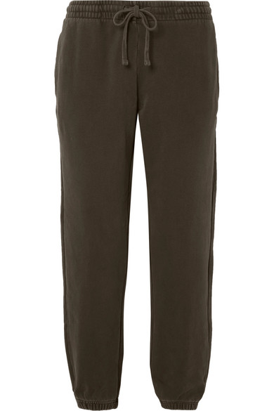 KITH Trish Cotton-Jersey Track Pants in Army Green