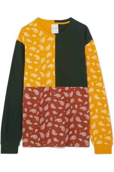 KITH Paneled Printed Cotton-Jersey T-Shirt in Mustard