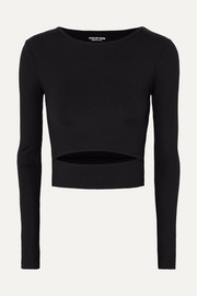 Year of Ours Club cropped cutout ribbed stretch-jersey top