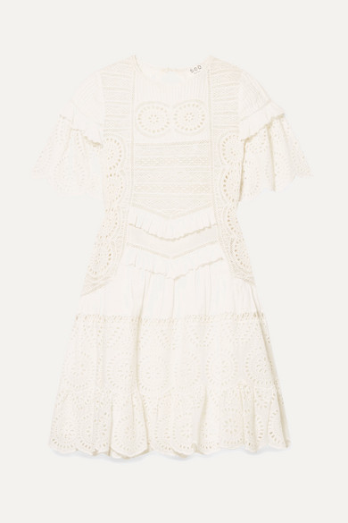 Sea Dresses Zinnia ruffle-trimmed broderie anglaise cotton mini dress