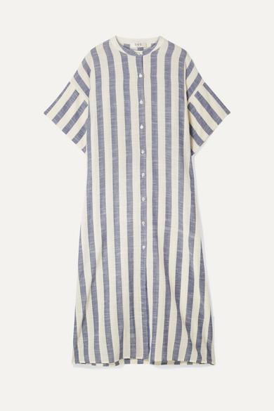 Cici Oversized Striped Linen Midi Dress by Sea