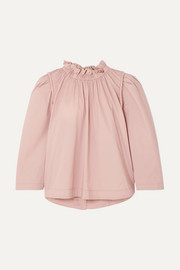 Sienna gathered cotton-blend blouse