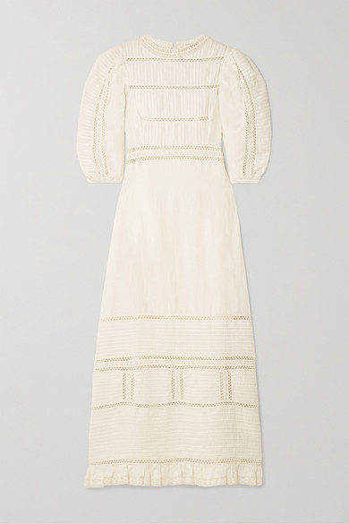 Sea Dresses Poppy crochet-trimmed pintucked cotton midi dress