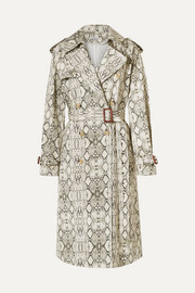 Les Rêveries Snake-print cotton trench coat