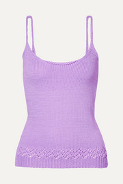 Neon pointelle-trimmed knitted tank