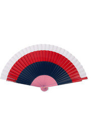 Painted birchwood and cotton-voile fan