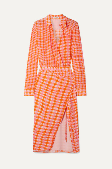 Altuzarra Silks Constantina wrap-effect checked silk crepe de chine midi dress
