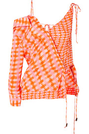 Nola asymmetric checked silk-georgette blouse