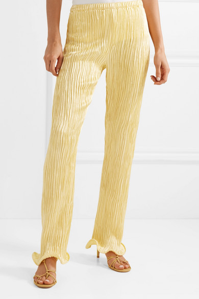 Sies Marjan Pants Karolina ruffled plissé linen-blend straight-leg pants