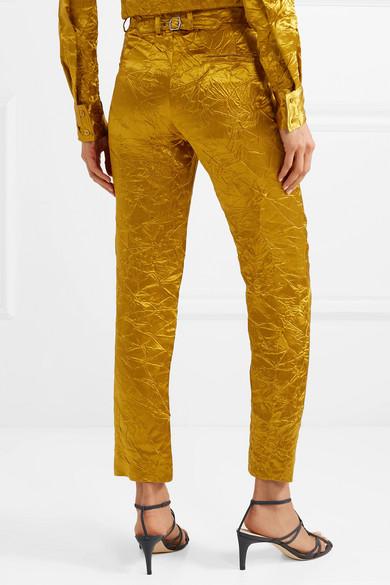 Sies Marjan Pants Willa crinkled satin-twill straight-leg pants