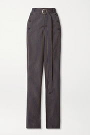 Sies Marjan Anouk belted paneled pinstriped twill straight-leg pants