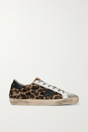 Superstar distressed leopard-print calf hair, leather and suede sneakers