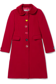 Ages 8 - 12 velvet-trimmed wool-blend coat