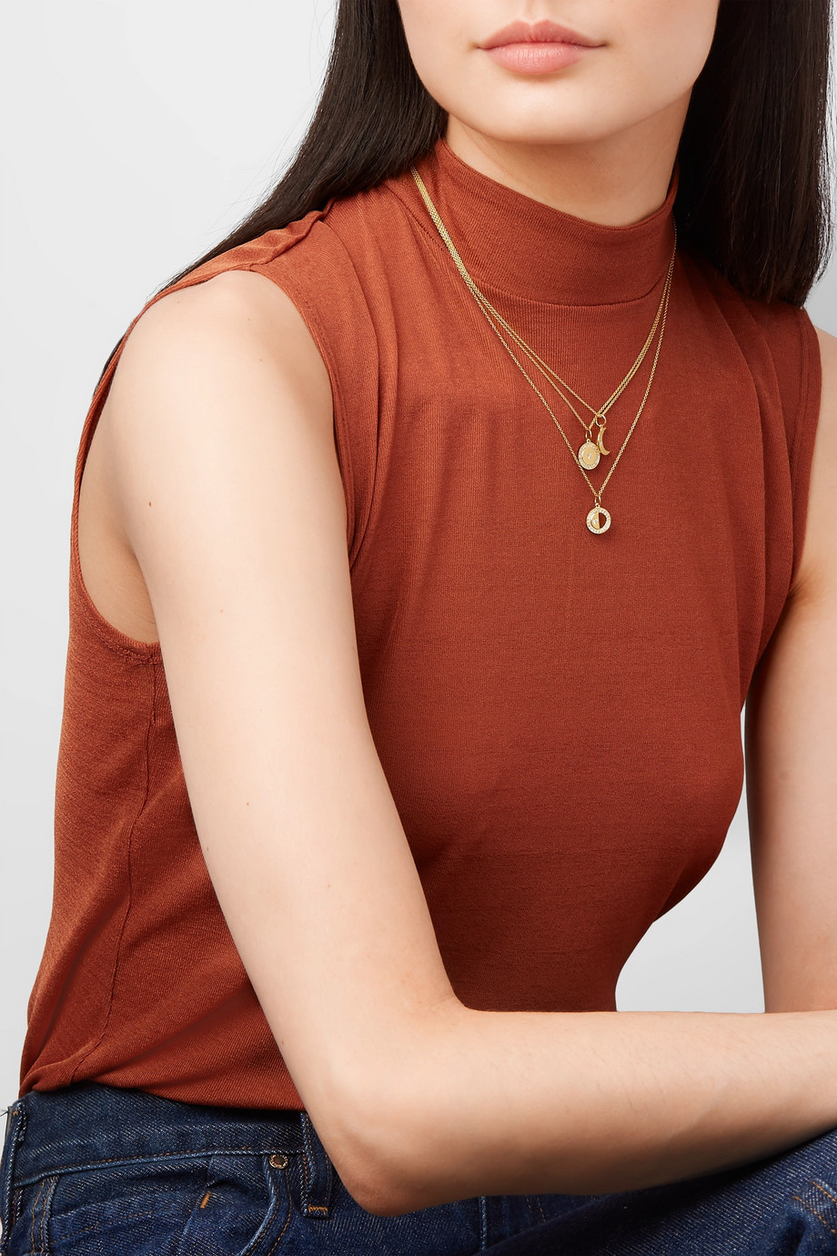 Andrea Fohrman Full Moon 18-karat gold diamond necklace