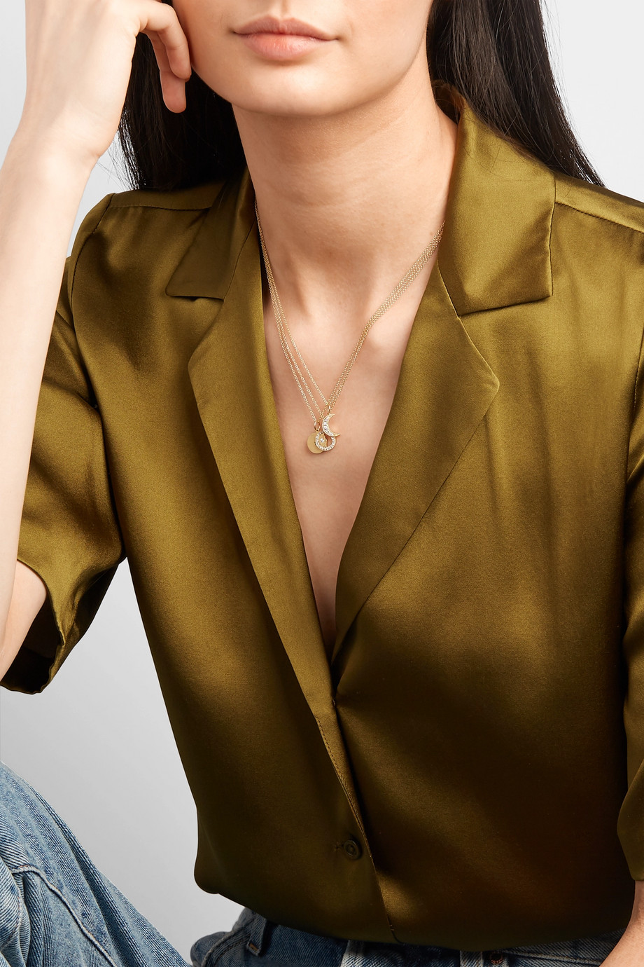 Andrea Fohrman Crescent Moon Kette aus 18 Karat Gold mit Diamanten